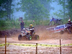 James Wahl pulled the holeshot aboard his two stroke as the rest of the class either ate mud or slid out in turn two.
