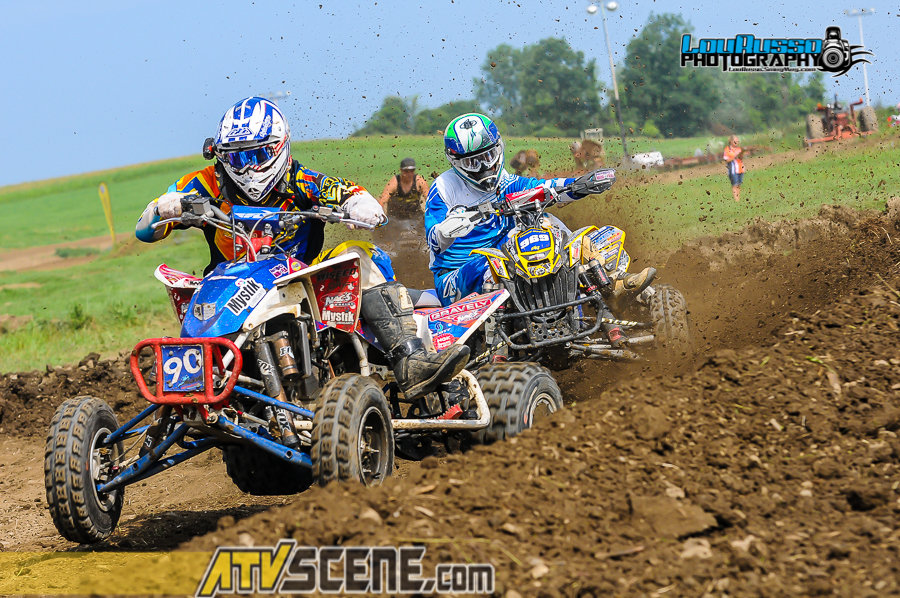 Cody Paolella and travis Moore battle for the lead