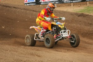 Can-Am DS 450 Pro Joel Hetrick, currently second in the Pro class point standings, earned a 2-6 moto scorecard on his way to a third-place finish at the 2014 Red Bud ATV Motocross National in Michigan.
