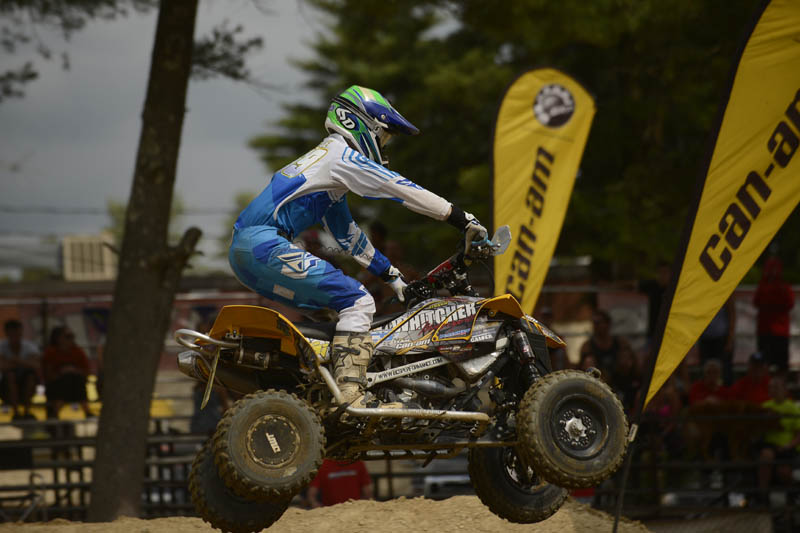 Defending NEATV-MX Pro champion and Can-Am DS 450 pilot Travis Moore finished second in the Pro class and fourth in the Pro-Am ranks at round six of the series to maintain his points lead in both classes.