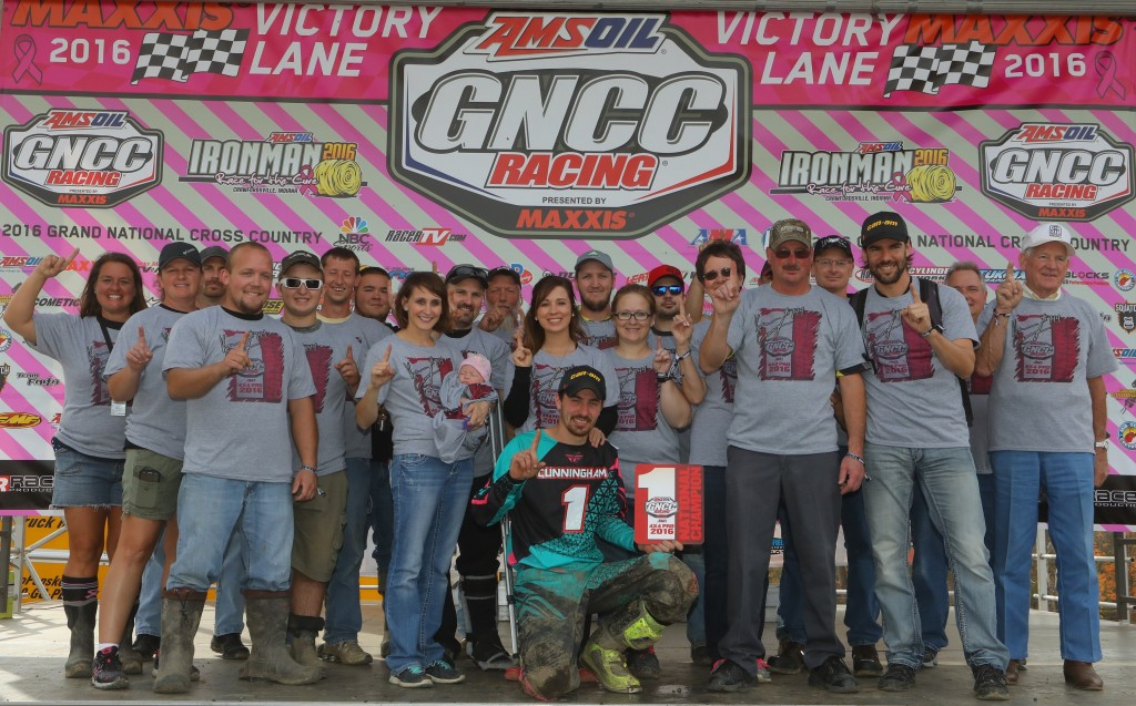 Team Cunningham Racing celebrates Kevin Cunningham's 4x4 Pro ATV class championship on the Ironman GNCC podium.