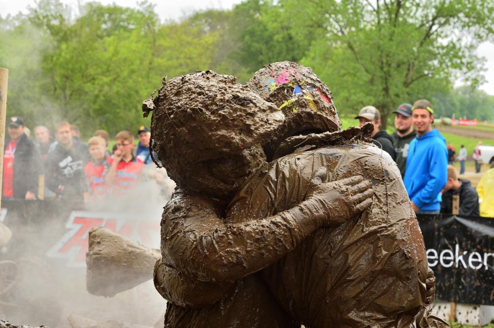 After earning his first GNCC overall win, Johnny Gallagher and Walker Fowler hugged it out after the checkered flag.
