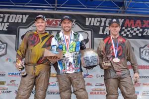 XC1 podium: (left) Brian Wolf, Adam McGill, (right) Jarrod McClure