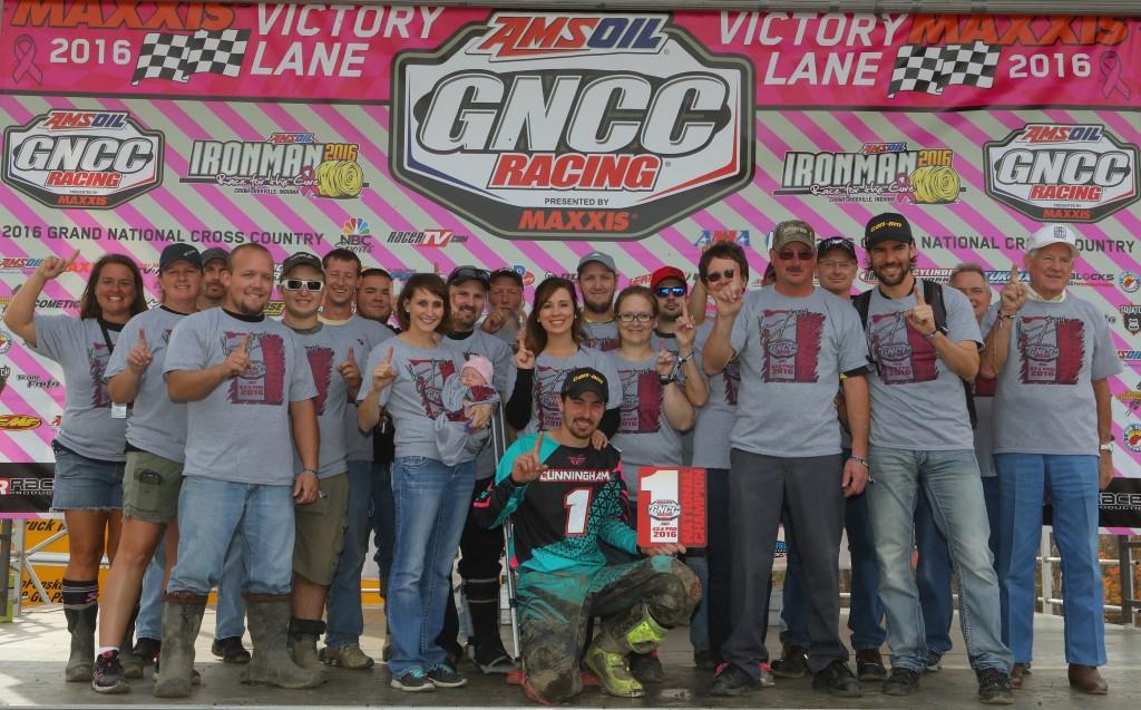Team Cunningham Racing celebrates Kevin Cunningham's 4x4 Pro ATV class championship on the Ironman GNCC podium.