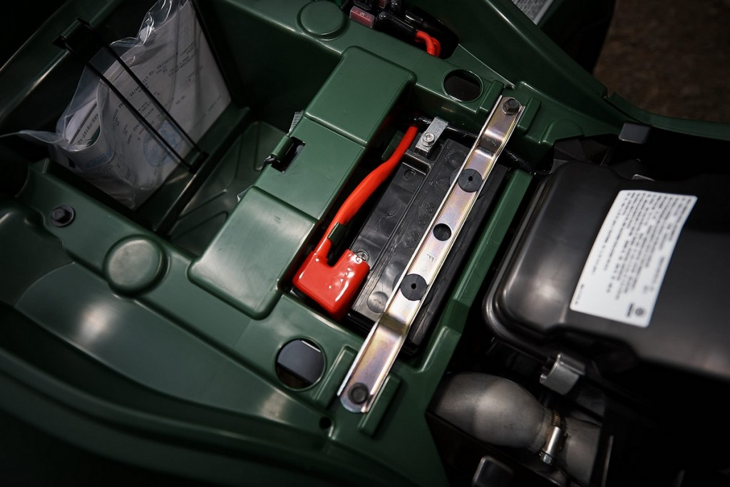 Pull the seat off and you'll have access to a storage area, battery and air filter.